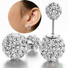 Womens Stunning Silver Plated Decor Double Beads Dual-use Ear Studs Earrings