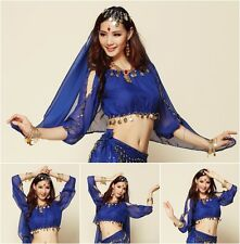NEW Long Sleeved Chiffon Belly Dance Coin Top Gypsy Blouse Shirt Size S/M/L