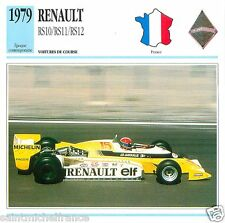 RENAULT RS10/RS11/RS12 1979 CAR VOITURE FRANCE CARTE CARD FICHE
