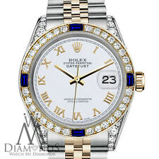 Rolex 31mm Datejust 2Tone White Roman Numeral Sapphire Diamonds 18K Gold Jubilee