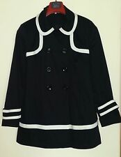 RED HERRING BLACK COTTON & OFF WHITE NAVAL/MILITARY STYLE 3/4 LENGTH JACKET 16