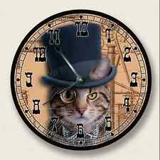 STEAMPUNK CAT 1 Wall Clock - Top Hat - Novelty Home Decor