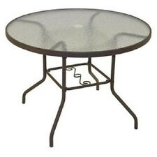 Round Patio Table Outdoor Dining Furniture Garden Outside Yard Glass Top Brown