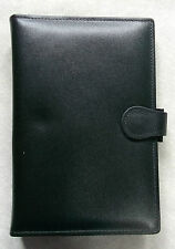 NEW BLACK REAL LEATHER STANDARD PERSONAL FILE PHONE ORGANISER 25mm DIAMETER