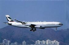 Cathay Pacific Airways Airbus A340-211 VR-HMR Landing at Kai Tak Postcard