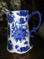 Blue & White Porcelain Pitcher Flower Pattern, Beautiful by CB Large.