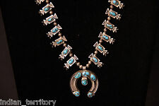 "Navajo Indian Bisbee Turquoise Squash Blossom ""Box and Bow"" Necklace c.1930s-40s"