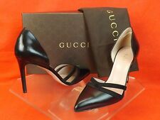 GUCCI BLACK LEATHER AND SUEDE D'ORSAY HIGH HEEL CLASSIC PUMPS 36.5 6.5 # 353791