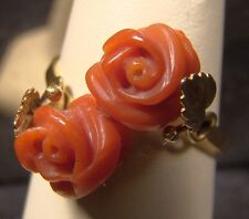 Beautiful 18 K Gold Carved Red Coral Rose Vintage Ring Torre Del Greco Italy