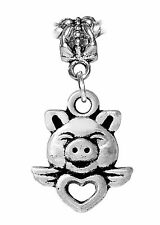 Winged Heart Pig Animal Pet Dangle Bead fits Silver European Charm Bracelets