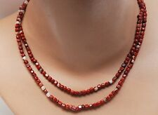 "34""  STRAND Vintage Red Jasper 4mm Rounded Cube Shaped Beads Crystal Inclusions"