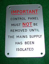 Aluminium Plaque signalétique pour Machine Isolant Panneau, As Photo