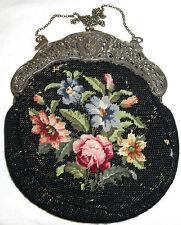 Alte große Jugendstil Abendtasche/Handtasche m. Beutel um 1890/1900 Silber 800er