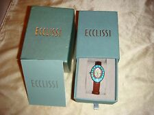 Ecclissi Sterling Gemstone Bezel Leather Strap Watch  Brand New in Box!  RARE