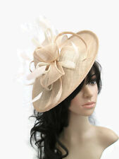 NEW NUDE WITH IVORY SINAMAY & FEATHER FASCINATOR HAT.Shaped saucer disc,Wedding.