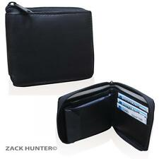 MENS LEATHER WALLET SLIM LINE BLACK COIN WALLET FLAT POUCH PURSE SLIM LINE 1184