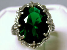 10ct green emerald antique filigree 925 sterling silver ring size 8.5 USA