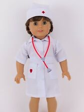 "White Nurse Dress, Belt, Cap & Stethoscope for 18"" American Girl Doll Clothes"