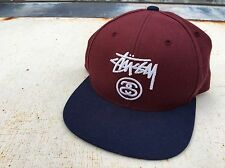 Mens STUSSY Snapback Hat Cap Maroon Navy MMA Skateboard Snap Back Hawaii volcom
