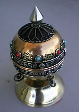 Standing Tibetan Prayer Wheel Brass Auspicious Signs Copper Alloy Mantra Scroll