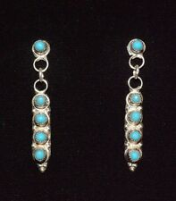 Earrings Native American Turquoise Snake Eye Dots By  Zuni  Artist Paul  Davis