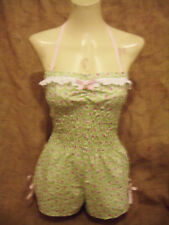 Mint green floral halterneck playsuit! 1950's,rockabilly,pin-up,festivals! XX