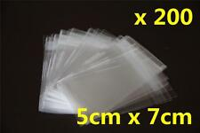 200x Self Adhesive Self Seal Resealable Clear Plastic Cellophane Bag 5x7cm + 2cm