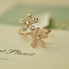 Hot Sale Women Fresh Crystal Gold Plated Opal Flower Ring Charm Jewelry Gift