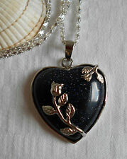 Unique blue goldstone heart gemstone pendant silver plated necklace flowers