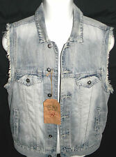 MENS ECKO UNLTD BLUE DENIM JEAN TRUCKER VEST SIZE S