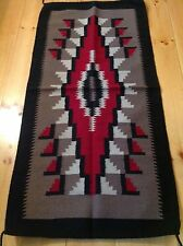 Navajo Design, Southwestern Rug or Wall Hanging 32 x 64  Gray and Red