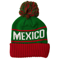 MEXICO Two Tone Pom (Green/Red) Cuffed Bubble Knit Beanie Skull Cap