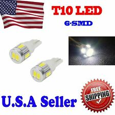2 x T10 6000K White High Power 5630 5730 Chip 6-SMD LED Interior Lights Bulbs