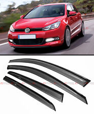 SMOKE TINTED CLIP ON WINDOW VISOR W/ BLACK TRIM FOR 2014-2015 VW MK7 GOLF GTI R