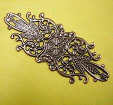 6pc antique copper metal filigree wraps-4059
