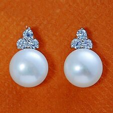 925 Sterling Silver Studs Earrings 9MM Cultured White Freshwater Pearl Three CZ