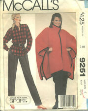 M 9251 sewing pattern Sport PONCHO SHIRT PANTS sew JONES NEW YORK misses' size 6