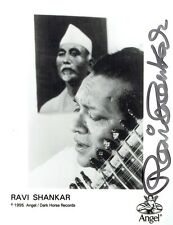 RAVI SHANKAR - Signed B/W photograph issued by Angel / Dark Horse Records