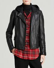 $1495 VINCE BLACK REMOVABLE HOODED MOTO LEATHER JACKET NEW SIZE XS