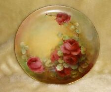ANTIQUE HAVILAND LIMOGES DECORATIVE PLATE HAND PAINTED ARTIST SIGNED ROSES