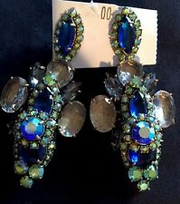 J.Crew Statement Blue, Green & Clear Vintage Style Drop Earrings NWT & Pouch
