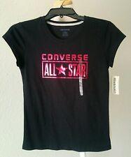 Converse Girl's All Star Chuck Taylor metallic pink Cotton Short Sleeve T-Shirt