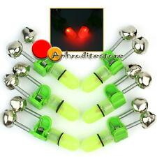 6 Allarme Indicatore Campanelli a Clip LED Rosso per Morsetto Canna Pesca Notte