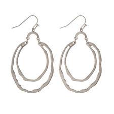 Hammered Metal Silver Tone Hoop Earrings