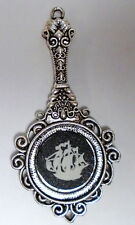 "Wedgwood Cameo in a ""Mirror-Shaped"" Pendant ""Ship""  Black Speckled Jasperware"