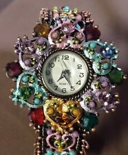Hearts Flower Multi Color Rhinestone Copper Tone Brass Tone Hinged Watch