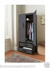 Space Saving Deluxe Double Canvas Wardrobe Black  Easy Self Assembly