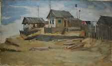 Russian Ukrainian Soviet Oil Painting realism northern village Architecture