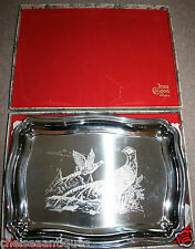 Vintage JEAN COUZON Orfèvre 1970s French Stainless Steel SERVING TRAY Pheasant