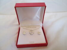 New Sterling Silver Square Crystal Pendant Necklace & Earrings Set